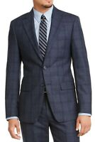 Calvin Klein Mens Sport Coat Navy Blue Size 44 Long Plaid Wool Blazer $450 210