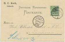 """DT.REICH """"LÜBECK / 2"""" K2 5 Pf Postkarte nach """"LANGNAU / BERN"""" SCHWEIZ @@@LOOK@@@"""