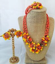 Vintage Stunning Signed Miriam Haskell Coral Art Glass Grand Parure