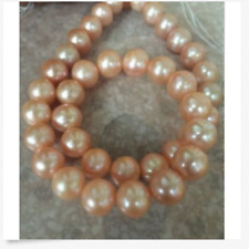 gorgeous 10-11`mm south sea gold pink round pearl necklace 18inch 14k