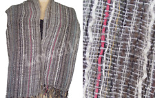 Handloom acrylic Scarf Oblong Striped Wrap Dupatta Fabric grey multicolor
