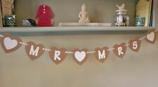 Mr and Mrs Bunting Heart Shaped Wedding Banner
