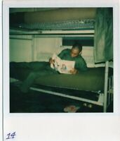 M20 Vintage Polaroid Photo African American Army Base Reading a Comic #1
