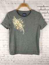 PETER SOM BLOUSE SMALL WOMEN'S GRAY EMBROIDERED FLORAL TOP SHIRT  (C42)