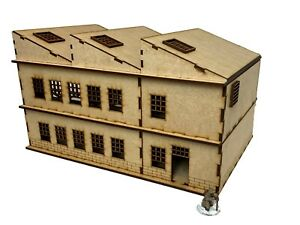 28mm Scale Large Factory/Commercial Building 'B' for WW2/Warhammer MDF kit
