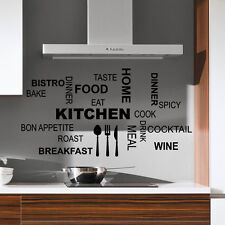 Dinner Fork Kitchen Quote Wall Stickers Art Dining Room Removable Decals DIY