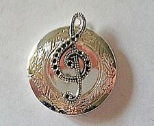 """MUSIC TREBLE CLEF silver photo LOCKET on 18"""" sterling chain necklace"""