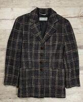 Women's MAX MARA Wool Plaid Coat Jacket Size 42 US12 L/XL