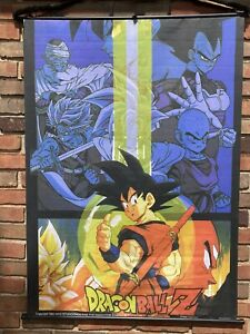 VINTAGE DRAGON BALL Z 1998 DBZ BANNER FLAG FABRIC HANGING WALL ART GOKU VEGETA +