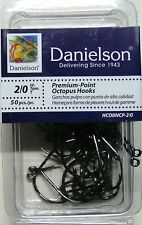 100 Danielson HCOBNCP Black Chrome Octopus Fish Fishing Hooks size 2/0