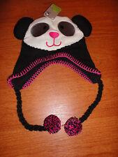 * Girls Infant Baby 12 24 M Months Panda Knit Winter Hat Crocs Pink White Black