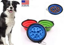 1 Collapsible Pet Dog Cat Interactive Slow Food Bowls Portable Slow Feeder Dish