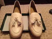 Women's Off White Lauren Ralph Lauren Brindy Leather Loafers Sz 11B