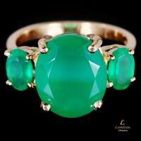 5.4 ct  Green Aventurine  Silver Gemstone Ring