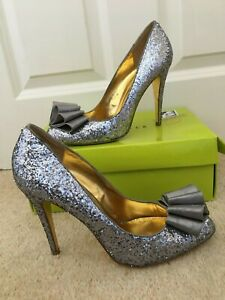 TED BAKER SZ UK 7 MAYTER SILVER GLITTER SPARKLE BOW COURT SHOES STILETTO HEEL