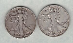 TWO USA 1942S & 1945S SILVER HALF DOLLARS IN GOOD FINE CONDITION