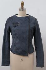 Camaieu 100% Goat Leather Motorcycle Jacket Blue Size It 40 Us 4