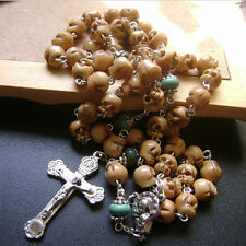 Turquoise BEADS & Tibet oxen Bone Skull ROSARY ITALY Relic Cross NECKLACE GIFTS