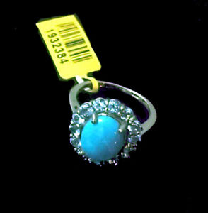 AZ Sleeping Beauty TURQUOISE , Elect Blue TOPAZ RING in Plat / Sterling  5.25Cts