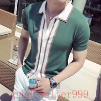 Mens Short sleeve Lapel Kint Knitwear Shirt Knitting Tops Blouses Casual Summer