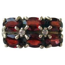 Cocktail Ring size 8 Signed J E D Vintage Ladies Sterling Silver & 6 Red Garnet