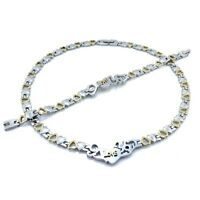 """Stainless Steel Two Tone I LOVE YOU Hugs & Kisses Set XO Necklace & Bracelet 18"""""""