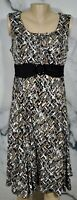 PERCEPTIONS Black Gray Brown Ivory Pattern Sleeveless Dress 10 Ruched Waistband