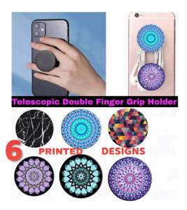 UNIVERSAL TELESCOPIC DOUBLE FINGER GRIP HOLDER FOR MOBILE PHONES /TABLETS ETC