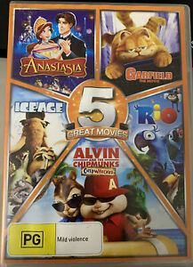 5 x DVD-Anastasia+Garfield The Movie+Ice Age+Rio+Alvin/Chipmunks-Chipwrecked-PAL