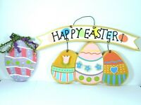 Happy Easter Wall Door Sign Decor Wood Hand Painted Eggs Pastel
