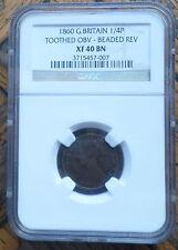 GREAT  BRITAIN UK COIN FARTHING 1860 MULE RARE NGC XF 40 BN