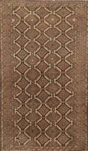 Semi-Antique Geometric All-Over Balouch Oriental Area Rug Hand-knotted Wool 3x5