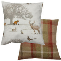 Tatton Stag Fox Pheasant Rust Checked Wool Effect Filled Country Animal Cushion