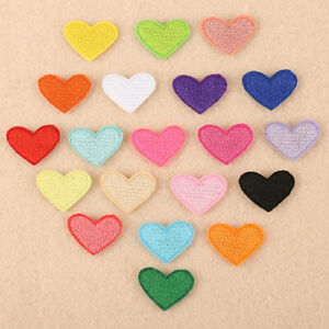 10PCS Heart Love Small Patches Embroidered Sew On Iron On Badge Fabric Applique