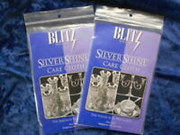 """2 Pkgs BLITZ Sterling Silver Shine Cleans Protects 14""""x11.5"""" NonToxic Cloth USA"""