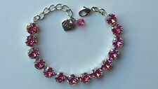 Cup Chain Style Bracelet Made w/ Swarovski Pink Crystals, October Awareness Hope