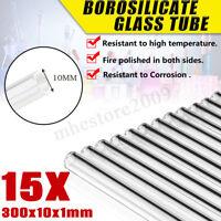 15Pcs 300mm Length OD 10mm Thick 1mm Wall Borosilicate Glass Blowing Tube   !