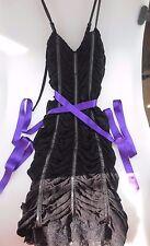 AUTHENTIC DOLCE & GABBANA D&G BLACK LACE PURPLE SASH RUCHED DRESS IT 42 US 4, 6