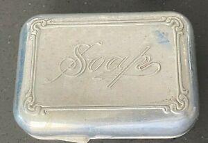 Vintage Aluminum Metal Hinged Travel SOAP Box w/Embossed Lid (w/bar of soap)