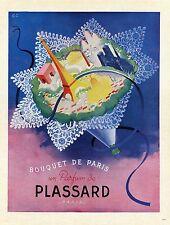 """""""BOUQUET DE PARIS : PARFUM PLASSARD"""" Annonce orig. entoilée PLAISIR DE FRANCE 45"""