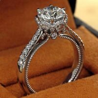 2.Ct Real Round Cut White Diamond Wedding Engagement Ring In 925 Sterling Silver