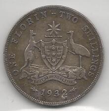 AUSTRALIA,  1932 (M),  FLORIN,  SILVER,  KM#27,  FINE,  **KEY DATE**