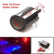 35-61mm Stainless Car Exhaust Muffler Tip Pipe Glossy Srimping W/ Blue LED Light