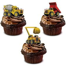 CONSTRUCTION DIGGER edible cup cake toppers decorations *STAND UPS*