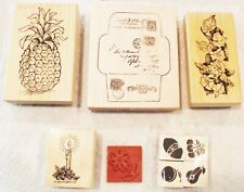STAMPIN UP CANDLE + PINEAPPLE TRAVEL FLORAL 4 FRUIT WOOD MOUNT RUBBER STAMPS
