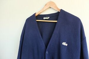 Vintage 80s Lacoste Chemise knit cardigan XL Blue VGC Made in Spain Knitwear