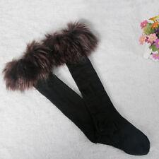 Damen Pelz Kunstfell Strümpfe Socken Pelzstulpen Lang Stiefelstulpen Beinstulpen