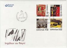 Faroe Islands 1999 Paintings, Village, Girl, Husavik, Red Rain, First Day Cover