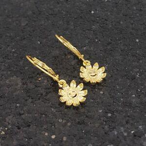 18K Gold Filled Petite Italian Smiling Sunflower 18ct GF Drop Earrings 30mm