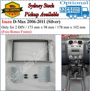 Fascia facia Fits Isuzu D-Max DMAX 2006-2011 Double Two 2 DIN Dash Kit Silver